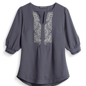 BRIXON IVY Mandrake Embroidered Bib Blouse Size L